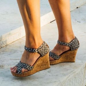 Toms Woven Diamond Strappy Wedge Sandal, Black